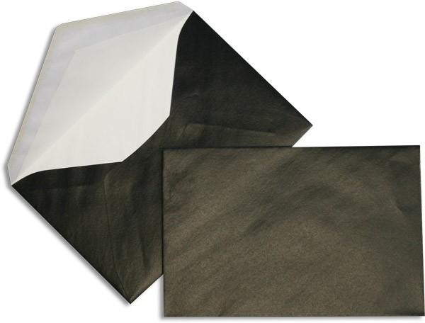 Pearls Briefhüllen nassklebend Seidenfutter Schwarz Pearl 120x180 mm 90g/qm