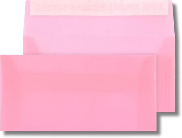 Briefumschläge transparent Haftstreifen o. F. Rosa 110x220 mm DL 110g/qm