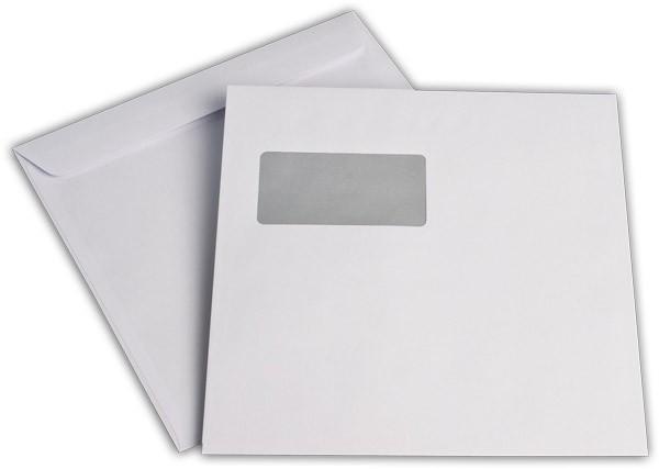 Briefumschläge Haftstreifen m. F. Weiss innen Grau chlorfrei 220x220 mm 100g/qm