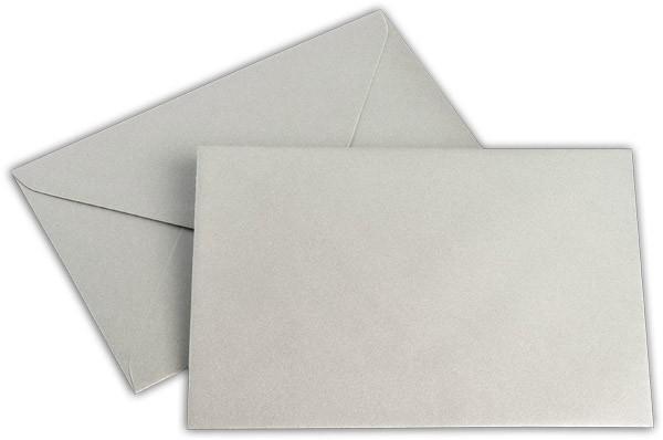 Briefumschläge nassklebend Silber Weisses Seidenfutter chlorfrei Spitze klein 120x180 mm 100g/qm