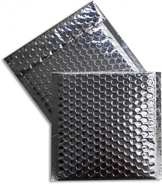 Metallic Bubble Bags Haftstreifen Silber glänzend Luftpolster 165x165 mm