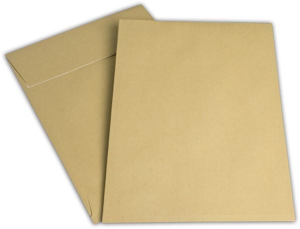 Faltentaschen mit Spitzboden Haftstreifen Braun Natron 150x353 mm Falte 20 mm B4 130g/qm