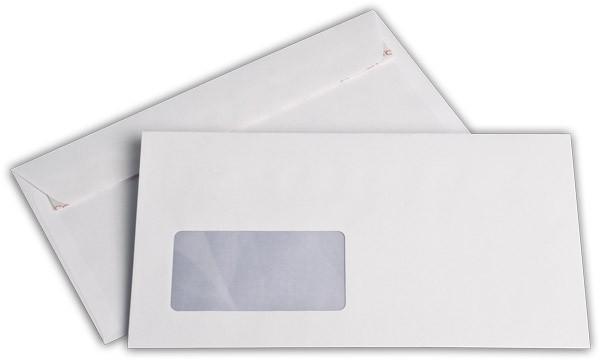 Briefumschläge Haftstreifen m. F. Weiss innen Grau chlorfrei FSC 125x235 mm KO 80g/qm