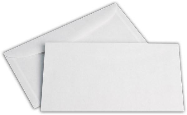 Kuvertierhüllen o. F. Weiss innen Grau chlorfrei 125x229 mm KO 75g/qm