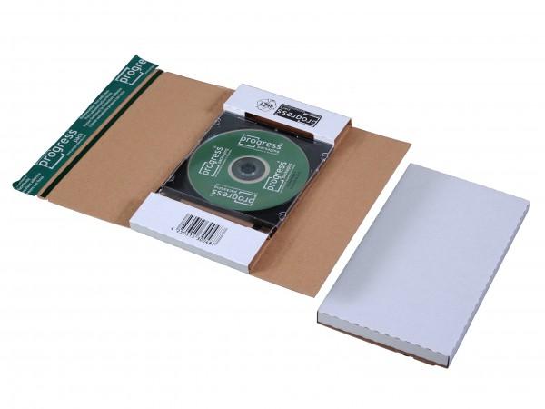 CD-JEWEL-MAILER DL 225x125x12 aus Wellpappe weiss ohne Fenster