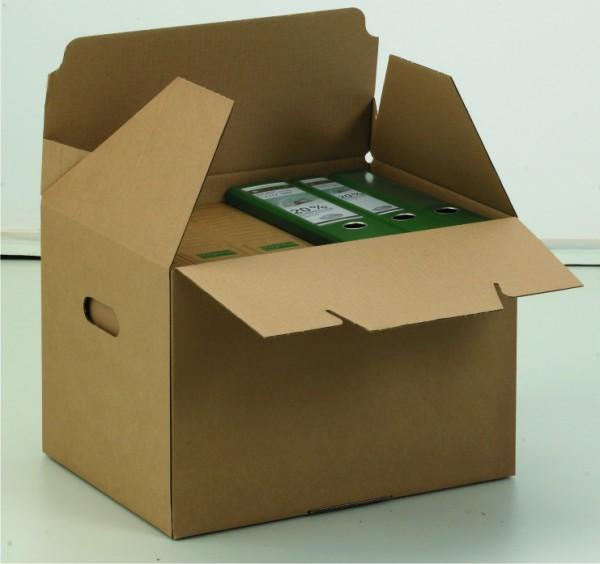 ECO Archiv-Transport-Container 430x330x305 mit Automatikboden und integriertem Deckel braun