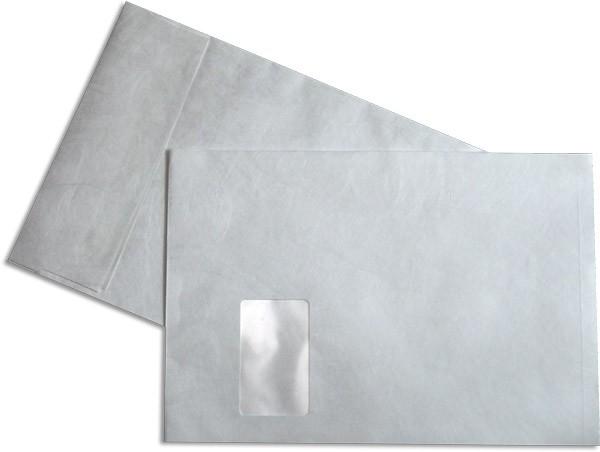 Tyvek Faltentasche m. F. und Haftstreifen Weiss 229x324 Falte 20 mm C4