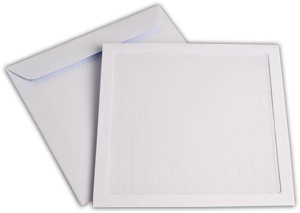 Briefumschläge mit Panoramafenster Haftstreifen Weiss chlorfrei 220x220 mm 120g/qm