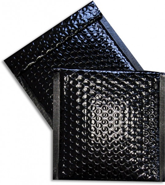 Metallic Bubble Bags Haftstreifen Schwarz glänzend Luftpolster 165x165 mm