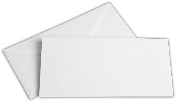 Briefumschläge nassklebend o. F. Weiss innen Grau chlorfrei 110x220 mm DL 100g/qm