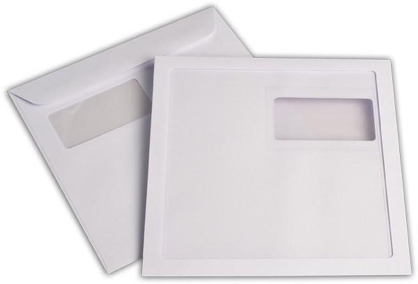 Briefumschläge mit Panoramafenster Weiss nassklebend chlorfrei 220x220 mm 120g/qm