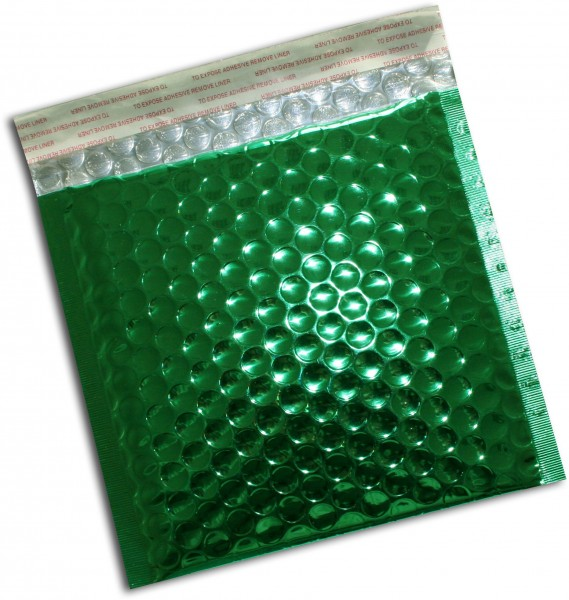 Metallic Bubble Bags Haftstreifen Grün glänzend Luftpolster 165x165 mm