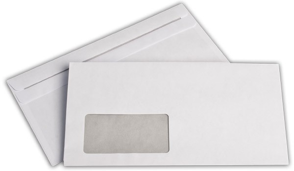 Briefumschläge m. F. Weiss innen Grau chlorfrei 125x235 mm KO 80g/qm
