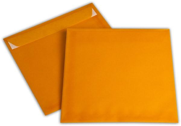 Briefumschläge transparent Haftstreifen o. F. Intensivorange 220x220 mm 100g/qm