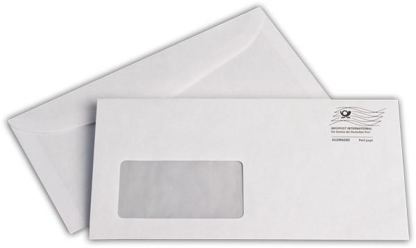 Kuvertierhüllen m. F. Weiss innen Grau mit Entgeltwelle chlorfrei 114x229 mm C6/5 80g/qm