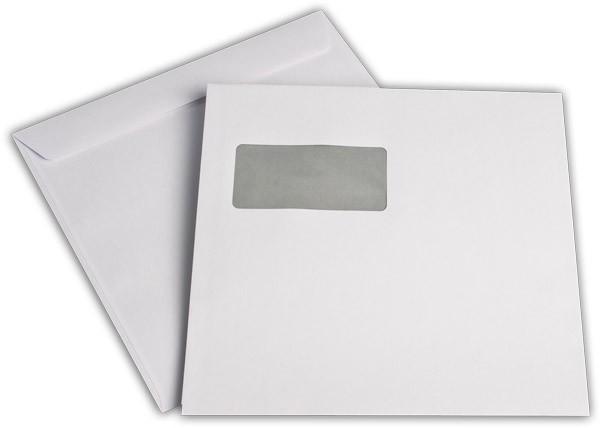 Kuvertierhüllen m. F. Weiss innen Grau chlorfrei 220x220 mm 100g/qm