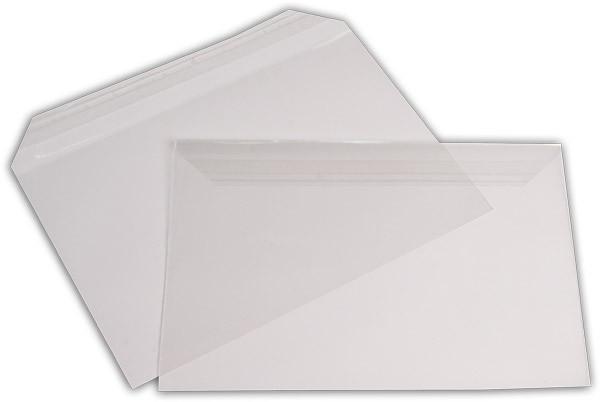 Polypropylen-Briefumschläge Haftstreifen kleine Breitseite transparent 162x229+30 mm C5 100my
