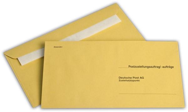 Äußere Zustellungshüllen Gelb HKS4, haftklebend o. F. 125x235 mm KO
