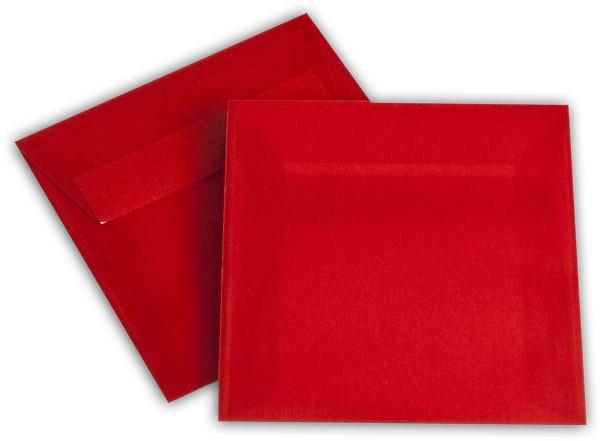 Briefumschläge transparent Haftstreifen o. F. Intensivrot 125x125 mm 100g/qm