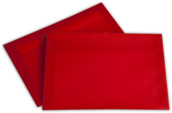 Briefumschläge transparent Haftstreifen o. F. Intensivrot 162x229 mm C5 100g/qm
