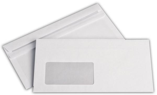 Briefumschläge m. F. Weiss innen Grau chlorfrei 110x220 mm DL 80g/qm