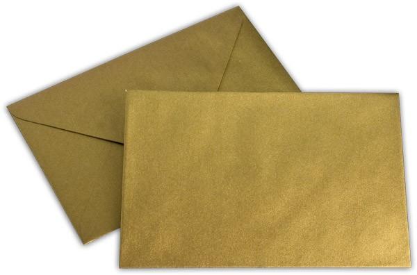 Briefumschläge nassklebend Gold Weisses Seidenfutter chlorfrei Spitze klein 120x180 mm 100g/qm