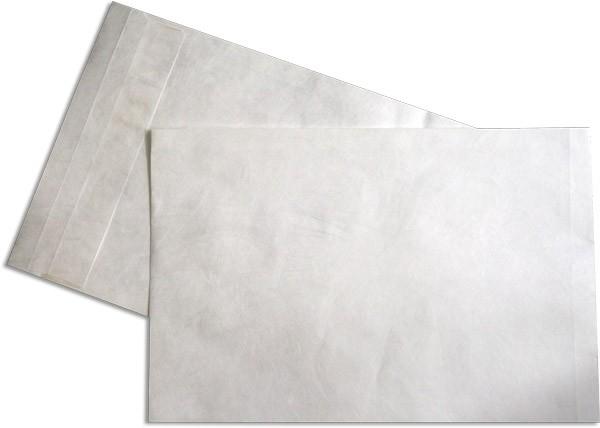 Tyvek Faltentaschen Haftstreifen Öffnung Schmalseite Weiss 262x371 mm