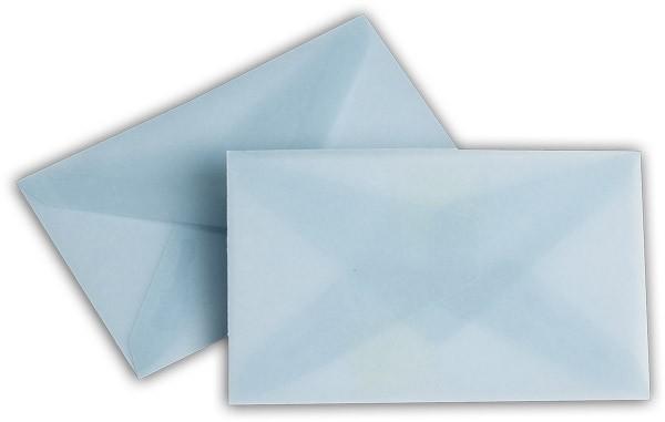 Briefumschläge transparent nassklebend o. F. Eisblau 62x98 mm 100g/qm