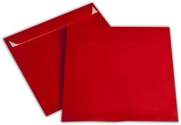 Briefumschläge transparent Haftstreifen o. F. Intensivrot 220x220 mm 100g/qm