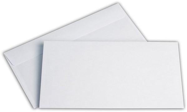 Briefumschläge Haftstreifen o. F. Weiss innen Grau chlorfrei FSC 125x235 mm KO 80g/qm