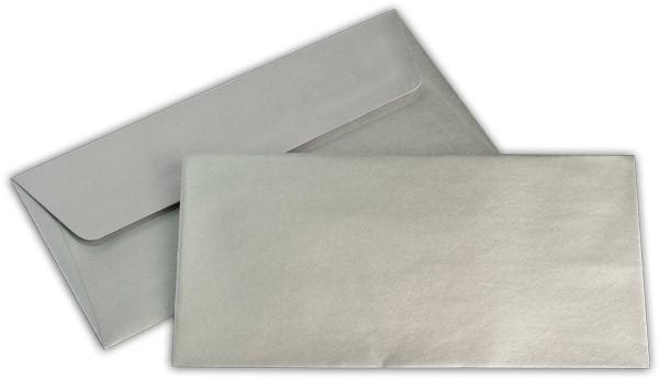 Briefumschläge nassklebend Silber Weisses Seidenfutter chlorfrei Sattelv. 110x220 mm DL 100g/qm