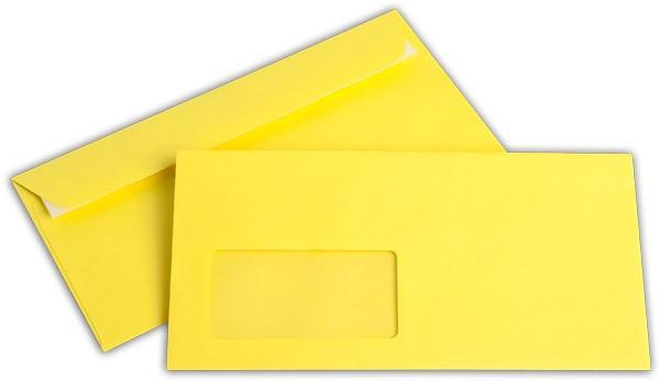 """Briefumschläge mit Haftstreifen """"Office Color"""" m. F. Intensivgelb 114x229 mm C6/5 100g/qm"""