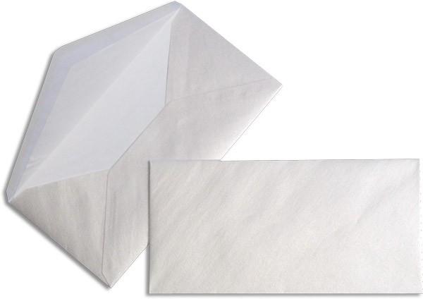 Pearls Briefhüllen nassklebend Seidenfutter Weiss Pearl 110x220 mm DL 90g/qm