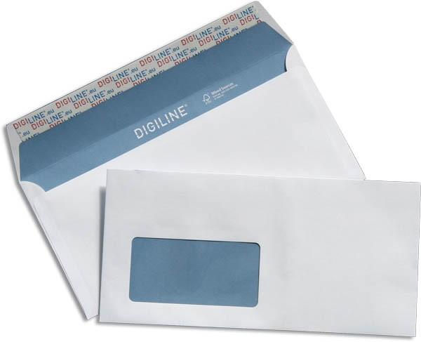 Briefhüllen für Laserdrucker m. F. Haftstreifen Weiss blauer Innendruck holzfrei FSC 110x220 mm DL