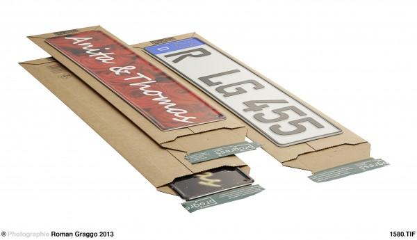 Versandtasche PREMIUM 145x600x-55 aus Wellpappe weiss und braun