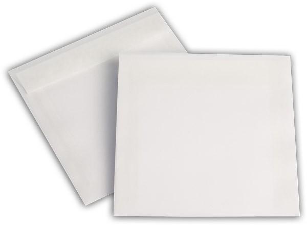 Briefumschläge transparent Haftstreifen o. F. Weiss 125x125 mm 92g/qm