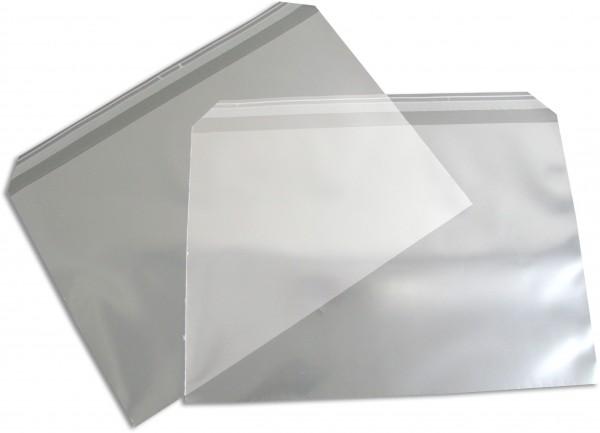 Polypropylen-Briefumschläge Haftstreifen kleine Breitseite transparent 250x353+30 mm B4 100my