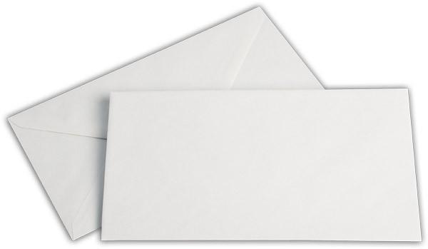 Briefumschläge nassklebend Seidenfutter Weiss chlorfrei 125x235 mm KO 80g/qm