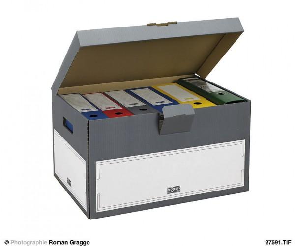 SELECT Archiv-Transportcontainer 555x390x295 aus Wellpappe mit Klappdeckel grau