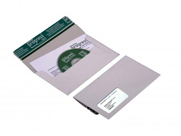 CD-MAILER DL 223x123x4,6 aus Vollpappe weiss mit Fenster