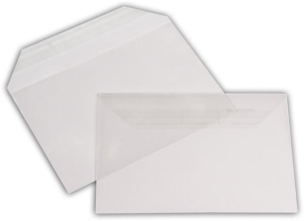 Polypropylen-Briefumschläge Haftstreifen kleine Breitseite transparent 114x162+30 mm C6 100my
