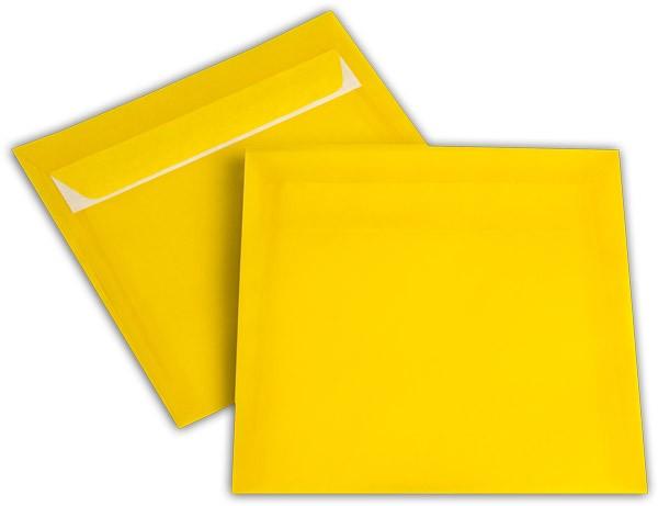 Briefumschläge transparent Haftstreifen o. F. Intensivgelb 170x170 mm 100g/qm