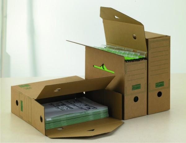 PREMIUM Hänge-Ablagebox 120 334x120x275 aus Wellpappe mit Automatikboden braun