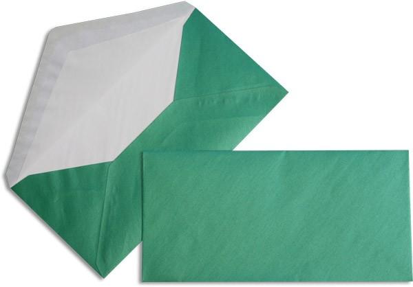 Pearls Briefhüllen nassklebend Seidenfutter Grün Pearl 110x220 mm DL 90g/qm