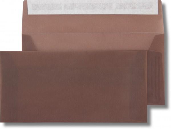 Briefumschläge transparent Haftstreifen o. F. Braun 110x220 mm DL 110g/qm