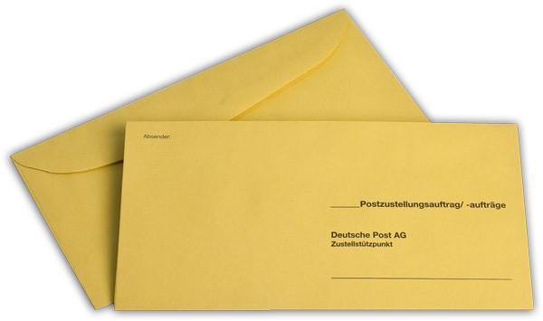 Äußere Zustellungshüllen Gelb HKS4 nassklebend o. F. 120x235 mm