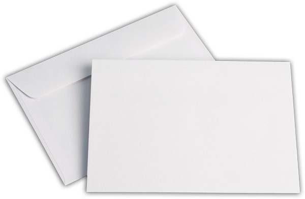 Kuvertierhüllen o. F. Weiss chlorfrei FSC 125x176 mm B6 100 g/qm