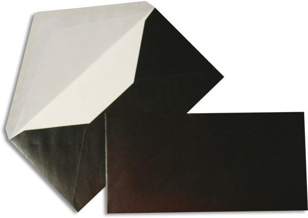 Pearls Briefhüllen nassklebend Seidenfutter Schwarz Pearl 110x220 mm DL 90g/qm