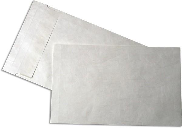 Tyvek Faltentaschen Haftstreifen Öffnung Schmalseite Weiss 250x381 mm E4a