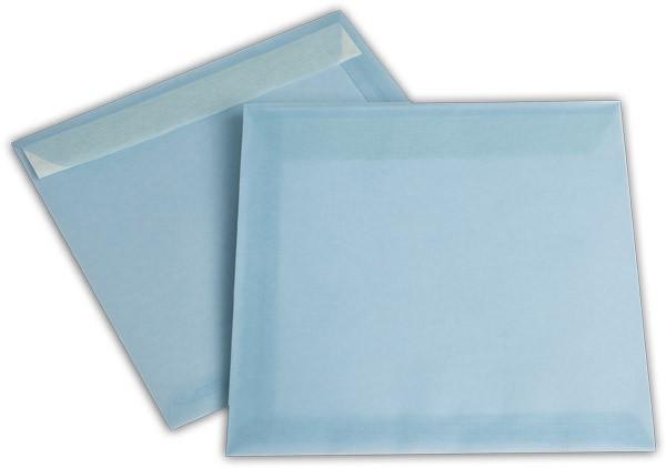 Briefumschläge transparent Haftstreifen o. F. Eisblau 220x220 mm 100g/qm